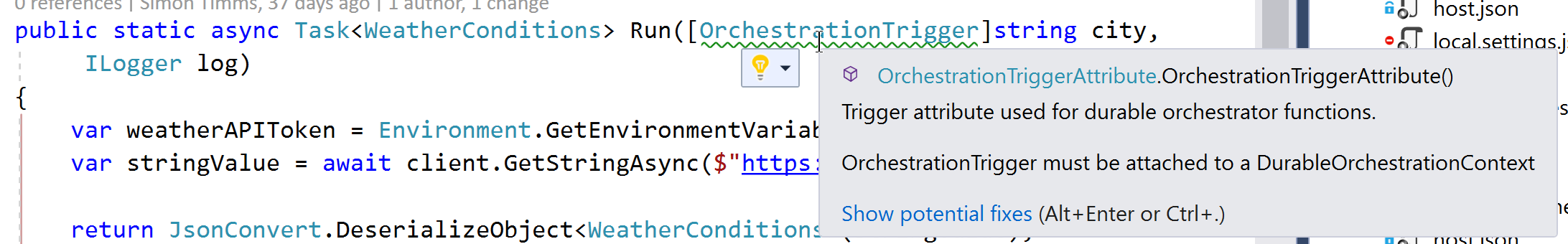 Orchestration trigger on the wrong data type